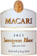 Macari Sauvignon Blanc Katherine's Field wine label